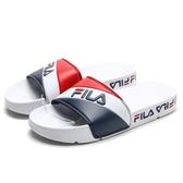 FILA (偏小建議大半號) 白紅藍 LOGO 串標 拖鞋 男女 (布魯克林) 4S301U125