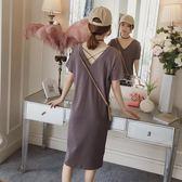 孕婦洋裝時尚孕婦裝裙子寬鬆短袖T恤 伊鞋本鋪