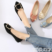 低跟鞋單鞋女春季2021新款韓版黑色尖頭平底鞋低跟瓢鞋百搭淺口淑女鞋子  迷你屋 新品