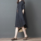 棉麻連衣裙女夏季新款寬鬆大尺碼洋裝 條紋...