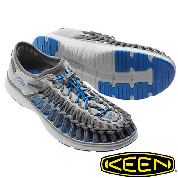 【KEEN 美國】UNEEK O2男拉繩涼鞋『淺灰/寶藍』1016909 水陸兩用鞋|自行車|溯溪|健走