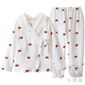 日式和服款家居服套裝水果草莓長袖純棉紗布睡衣女春秋【小酒窩服飾】
