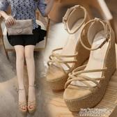 坡跟涼鞋子女韓版新品厚底超高跟防水臺一字扣甜美露趾羅馬鞋(免運快出)