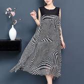 絲質 飄逸感點點印花背心洋裝-大尺碼 獨具衣格