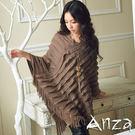 【AnZa】毛料針織波浪斗蓬披肩(二色)
