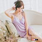 柔緞壓花細肩帶連身裙+外罩衫 二件式緞面睡衣組 典雅高貴美人 - 香草甜心 薰衣紫