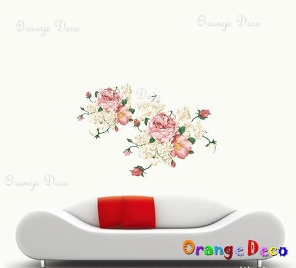 壁貼【橘果設計】富貴牡丹 DIY組合壁貼/牆貼/壁紙/客廳臥室浴室幼稚園室內設計裝潢