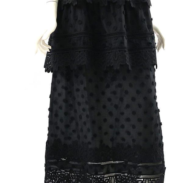 【self-portrait】黑色小花細帶蕾絲層次長洋裝 SP9008B