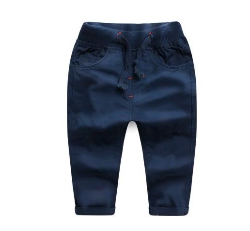 男Baby男童長褲藍色休閒長褲紅邊褲頭綁帶長褲男童棉長褲現貨 歐美品質