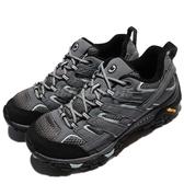 Merrell 戶外鞋 Moab 2 GTX Wide 寬楦頭 灰 藍 女鞋 Gore-Tex 防水 透氣 越野 運動鞋【ACS】 ML06036W