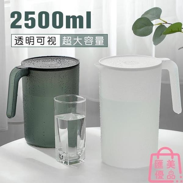 防摔涼水壺冷水超大容量耐高溫涼白開水杯茶壺套裝帶刻度塑料【匯美優品】