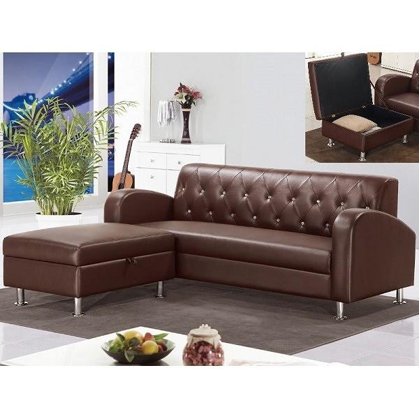 沙發 L型皮沙發 QW-217-6 戴爾咖啡色L型皮沙發 (可左右擺放) 【大眾家居舘】