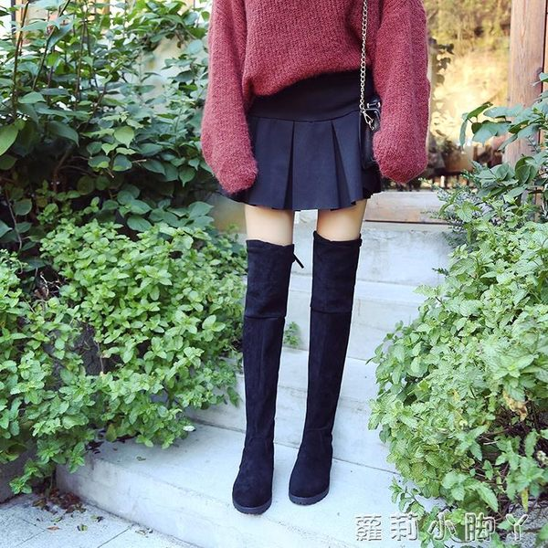膝上靴膝上靴長筒靴子女秋季新款平底百搭顯瘦高筒靴彈力女靴 蘿莉小腳ㄚ