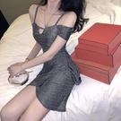 辣妹裝 法式裙子女2021夏季新款閃閃修身荷葉邊性感一字肩包臀吊帶連衣裙
