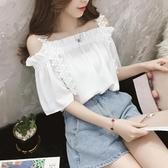 夏季女裝仙女超仙吊帶短袖白色上衣一字領露肩雪紡小衫遮肚子T恤