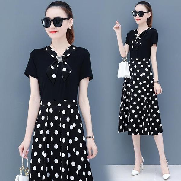 收腰洋裝 氣質女神范連身裙女2021夏季新款收腰顯瘦減齡波點裙子假兩件長裙 晶彩