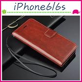 Apple iPhone6/6s 4.7吋 Plus 5.5吋 瘋馬紋手機套 簡約商務皮套 支架保護套 磁扣保護殼 側翻手機殼