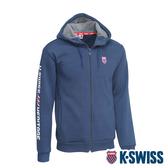 K-SWISS Shield Logo Hoodie Jacket刷毛連帽外套-男-藍
