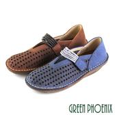 U8-28529 女款休閒鞋  V型剪裁幾何圖形沾黏式蠟感牛皮平底休閒鞋【GREEN PHOENIX】