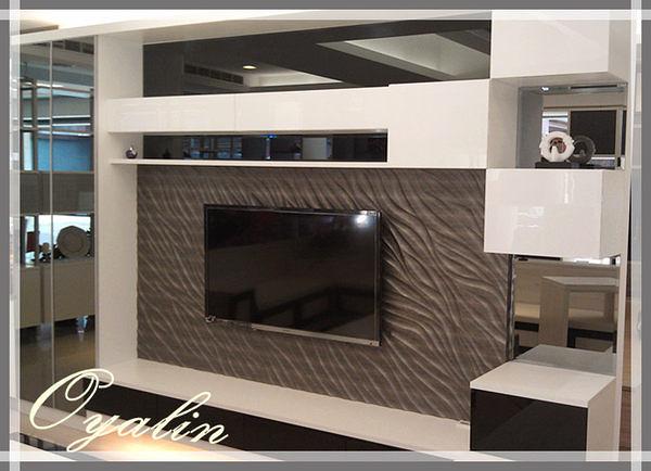 【系統家具】台中旗艦店店樣~黑玻搭配立體浮雕壁飾板+電視矮櫃
