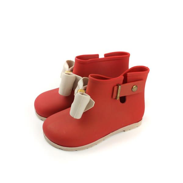 雨鞋 雨靴 防水 童鞋 蝴蝶結 紅色 中童 22801 no013