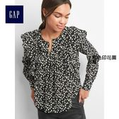 Gap女裝 印花層疊荷葉邊長袖上衣 228913-黑色印花圖案