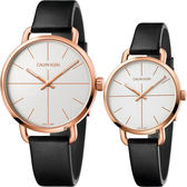Calvin Klein CK Even 超然系列十字線情侶對錶-銀x玫瑰金框/42+36mm K7B216C6+K7B236C6