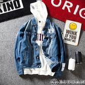 水洗刷破單寧外套【Y0597】OBIYUAN 翻領排釦牛仔外套/夾克 共1色