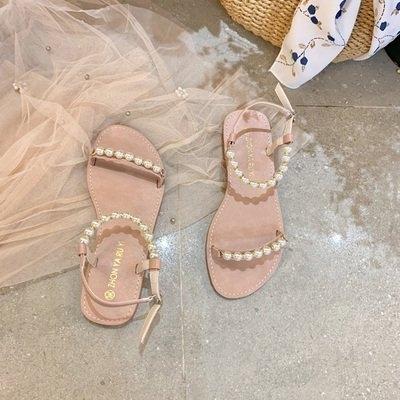 限時優惠 涼鞋女夏季新款時尚仙女風珍珠平底鞋網紅一字帶溫柔羅馬鞋潮