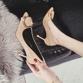 高跟鞋女士鞋子春秋季尖頭絨面氣質搭扣性感細跟職業單鞋 蘿莉小腳ㄚ