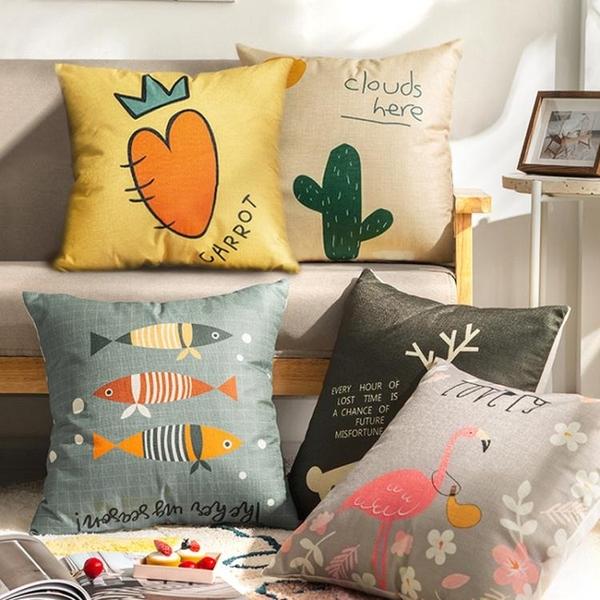 加厚布藝印花抱枕客廳靠墊沙發辦公室床頭靠枕腰枕簡約北歐靠背套 樂活生活館