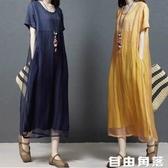 新款棉麻連衣裙 寬鬆拼接時尚短袖連體裙 韓版亞麻中長裙子 自由角落