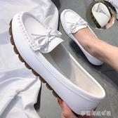 豆豆鞋 豆豆鞋女秋新款平底單鞋工作鞋軟底懶人一腳蹬媽媽白色護士鞋 夢露時尚女裝