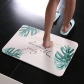 妙然硅藻土硅藻泥地墊印花浴室吸水速干防滑墊衛生間35*45cm腳墊