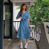 【GZ21】韓國 素面V領排釦縮腰綁帶短袖洋裝 V領側開叉連身裙 長版上衣