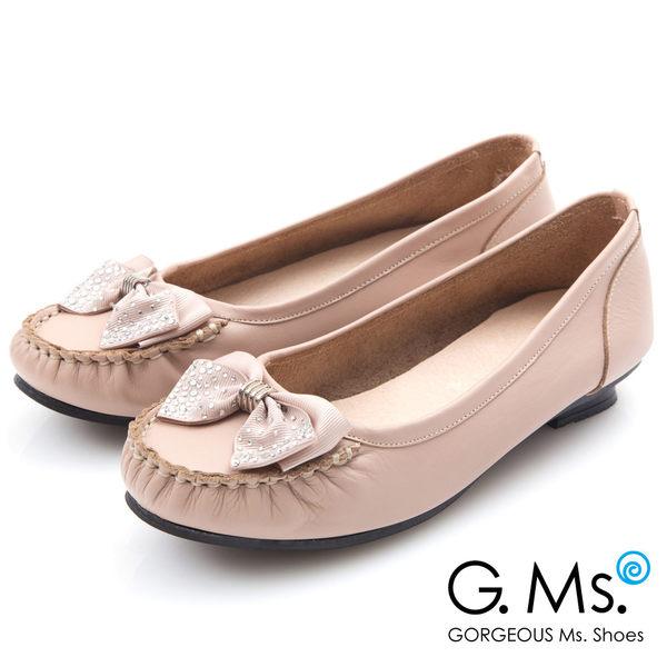G.Ms.* MIT系列-燙鑽蝴蝶結莫卡辛低跟鞋*粉紅
