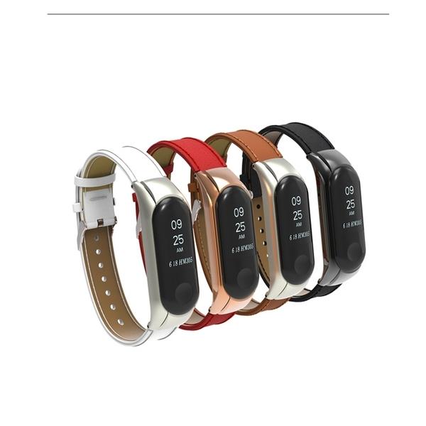 [贈保護貼2張] 小米手環3經典超纖皮革錶帶腕帶 替換錶帶