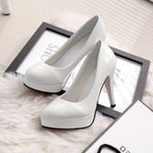 10CM高跟鞋防水臺性感細跟女單鞋圓頭淺口套腳韓版女鞋漆皮鞋子夏