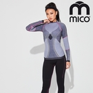 MICO 女無縫單向導濕銀纖維圓領保暖衣1445 / 城市綠洲(排汗快乾、舒適透氣、戶外機能)