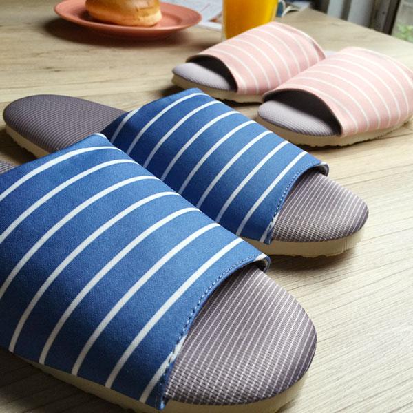 台灣製造-療癒系-舒活布質室內拖鞋-水藍條紋