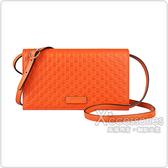 GUCCI Guccissima 雙G壓紋迷你LOGO牛皮扣式斜背包(橙)