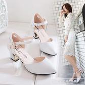女春2019新款韓版百搭女式中空尖頭粗跟單鞋一字扣帶高跟涼鞋中跟『韓女王』
