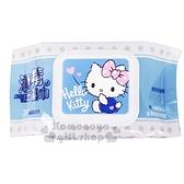 〔小禮堂〕Hello Kitty 30抽附蓋酒精濕紙巾包《藍白.摸嘴》柔濕巾.清潔用品 4715664-50373