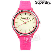 Superdry 極度乾燥 / SYL151P / 潮流品牌 亮眼撞色 日本機芯 舒適矽膠手錶 米白x螢光粉 37mm