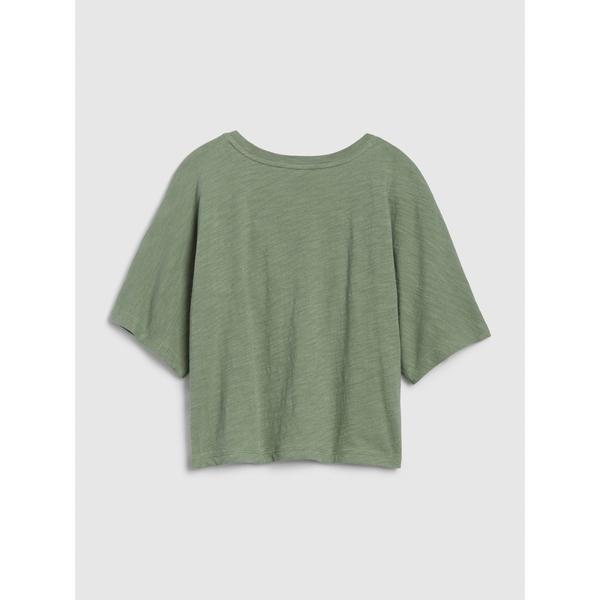 Gap女童 清爽透氣寬鬆短袖T恤 577856-墨綠