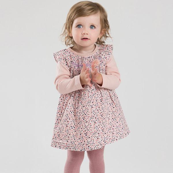 Dave Bella 假兩件長袖洋裝 - 粉紫小碎花 DB3929 大童可穿