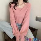 泡泡袖上衣 設計感小眾假兩件氣質方領針織衫毛衣女秋冬季修身顯瘦泡泡袖上衣寶貝計畫 上新