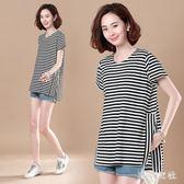 大尺碼短袖 中大尺碼夏季新款加肥加大碼女寬鬆顯瘦上衣短袖遮肚子T恤 QQ5960『東京衣社』