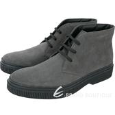 TOD'S 繫帶踝靴款麂皮休閒鞋(男鞋/深灰色) 1810546-11