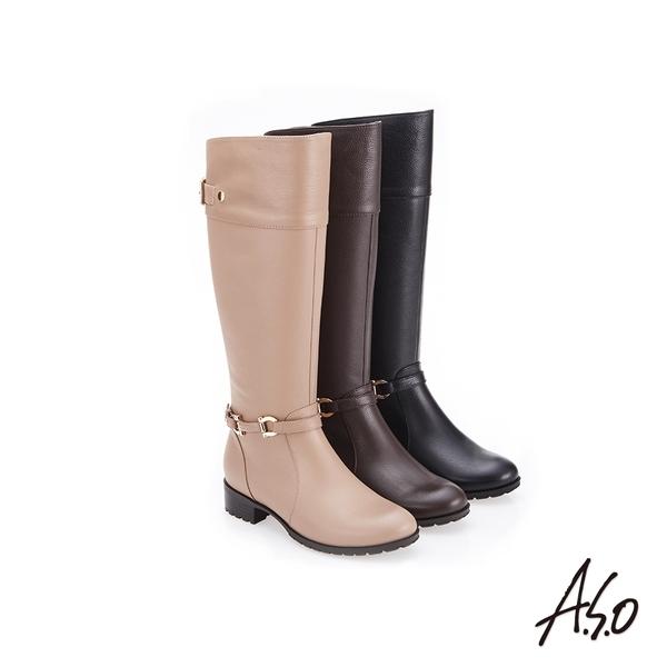 A.S.O 簡約飾釦 側拉鍊設計真皮長靴 咖啡色